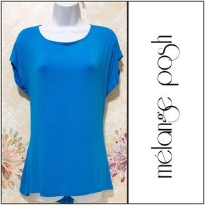 Aqua-Blue Hi-Low Tunic Top